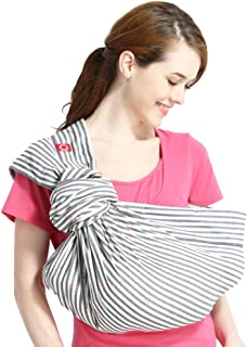 Mamaway Ring Sling Baby Wrap Carrier for Infant, Newborn, Toddler, Nursing Cover, Breastfeeding Privacy, Baby Holder, Breathable Fabric, 100% Cotton-Pink Anchors