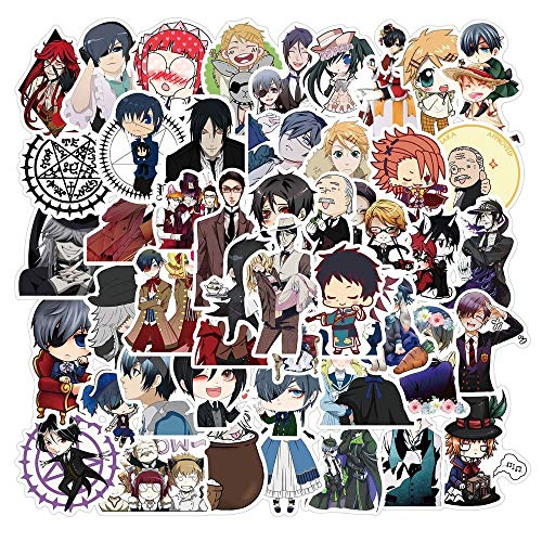 SHIHE Japanese Anime Stickers For Children Luggage Laptop Scooter Bike Stationery Black Butler Sticker 50Pcs