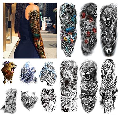 Kotbs 12 Sheets Full Arm Temporary Tattoo Dragon Tiger Waterproof Full Arm and Half Arm Sleeves Body Tattoo Stickers