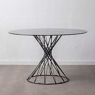 LOLAhome Table de Salle à Manger Ronde en Acier et Verre Noir de Ø 120 x 75 cm