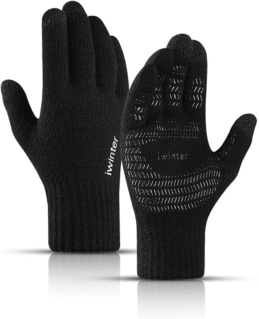 RSQJ Knitted Touch Screen Gloves for Men and Women Autumn and Winter Gloves Thickened Warmth Couples Wool Plus Velvet Non-Slip Outdoor Riding and Mobile Phone (Color : Black)