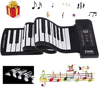 Mavis Laven Electronic Piano Teclado, Portable 61-Keys Roll Up Soft Silicone Flexible Piano, Electronic Piano Teclado para Entretenimiento en Casa Práctica de Música