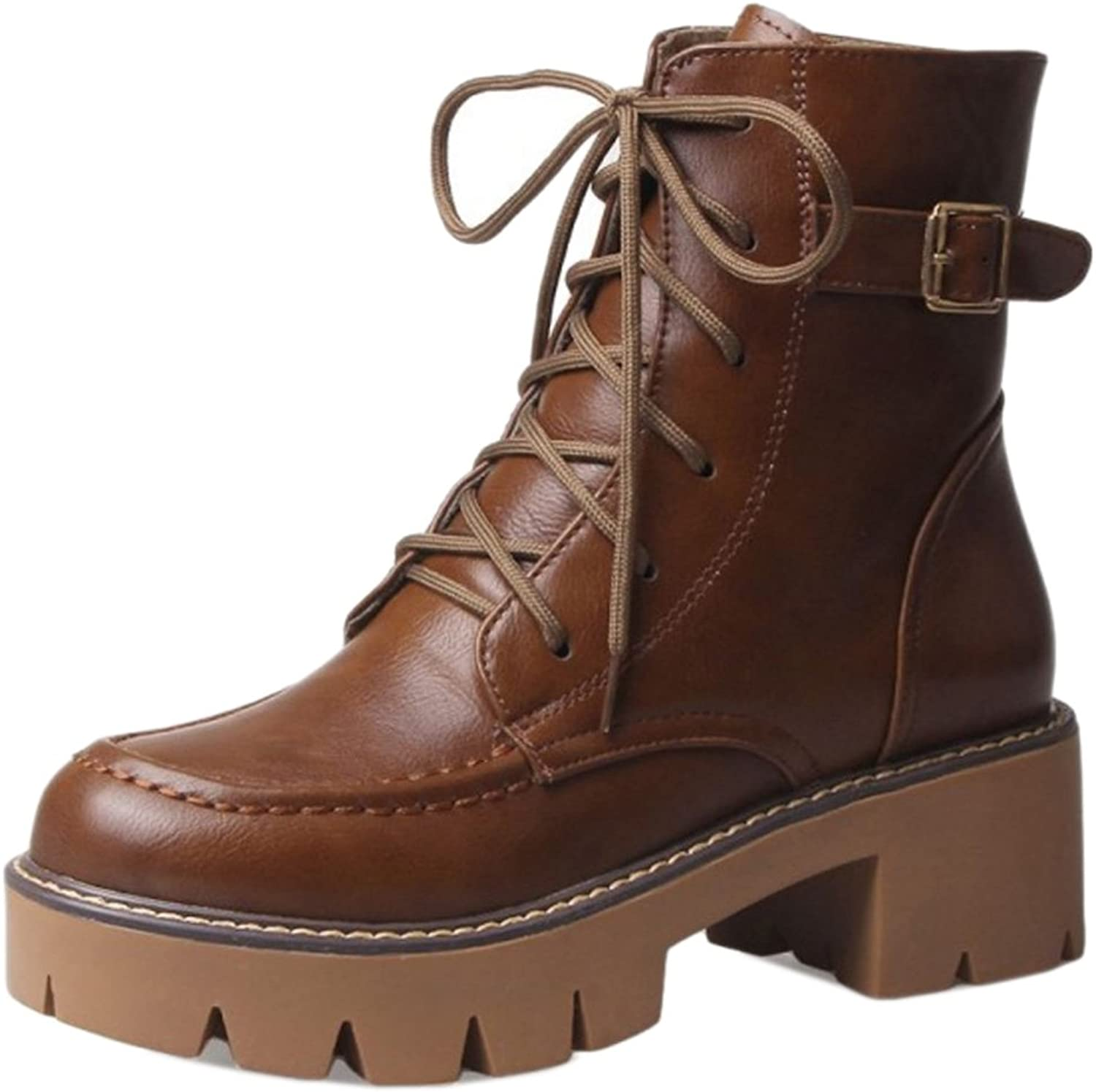 CarziCuzin Women Martin Boots British Style Mid Heel shoes Lace-up