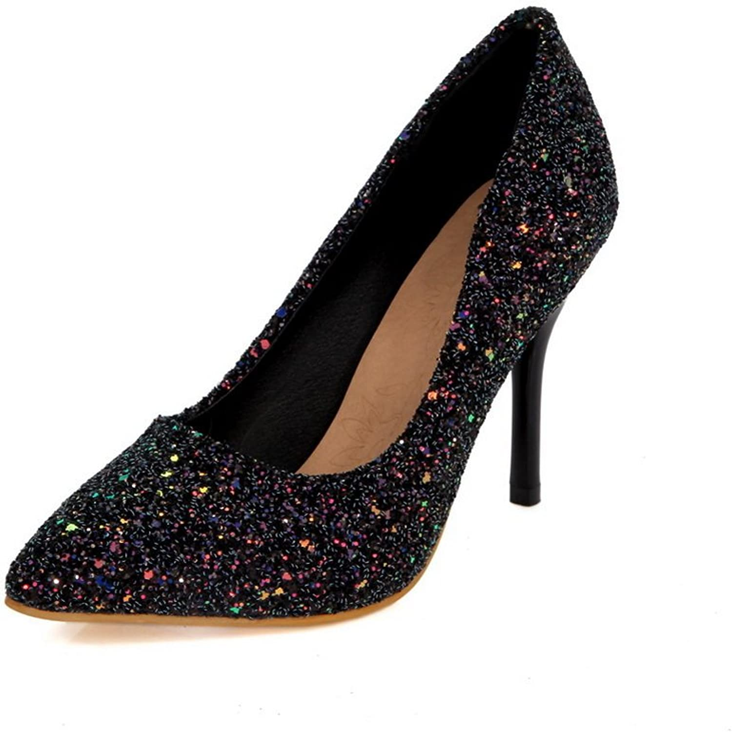 1TO9 Womens Spikes Stilettos Pointed-Toe Low-Cut Uppers Sequin Pumps shoes MMS04178