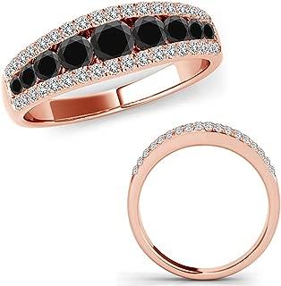 1 Carat Black Diamond Fancy Eternity Etoil Band Designer Cluster Ring 14K Rose Gold