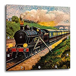 3D Rose Magic Lantern Vintage Steam Engine Locomotive Train Carriages Wall Clock, 15 x 15