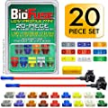 BioFuse Low-Profile Mini 20 Piece Automotive Fuse Assortment and Holders Set (2 Add-a-Circuit Fuse Tap Adapters, 18 LP-Mini Blade Fuses + Fuse Puller) 2A 3A 5A 7.5A 10A 15A 20A 25A 30A