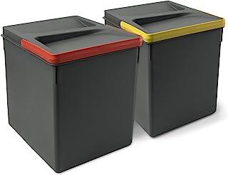 Emuca - Poubelles, Compartiments de Recyclage pour Base à Couper, Kit de 2 bacs Hauteur 266mm et capacité 15 litres