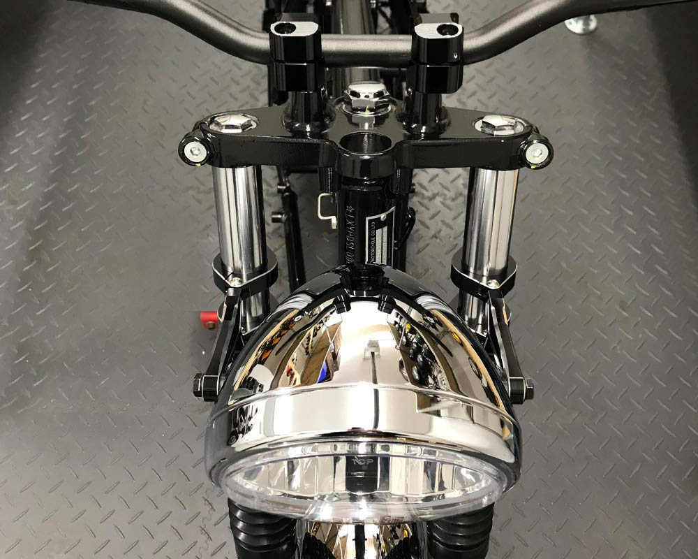 Retro Motorrad Scheinwerfer 7 5 55w Mit Slim Led Halo Chrom Homologated Auto