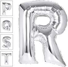 Lovne 40 Inch Jumbo Silver Alphabet R Balloon Giant Prom Balloons Helium Foil Mylar Huge Letter Balloons A to Z for Birthday Party Decorations Wedding Anniversary