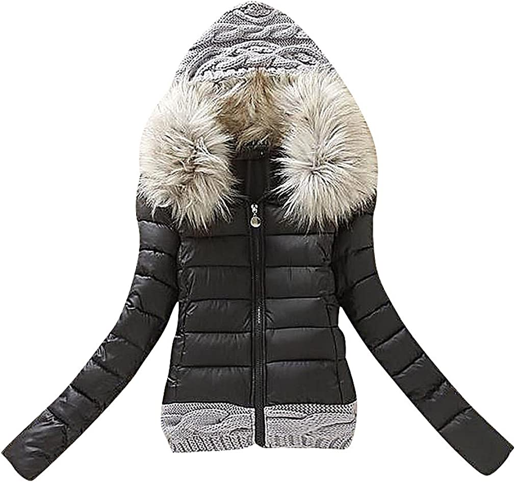 Maze, Women's Baffle Quilted 2 Color Faux Fur Hood Cable Knit Detail Puff Jacket