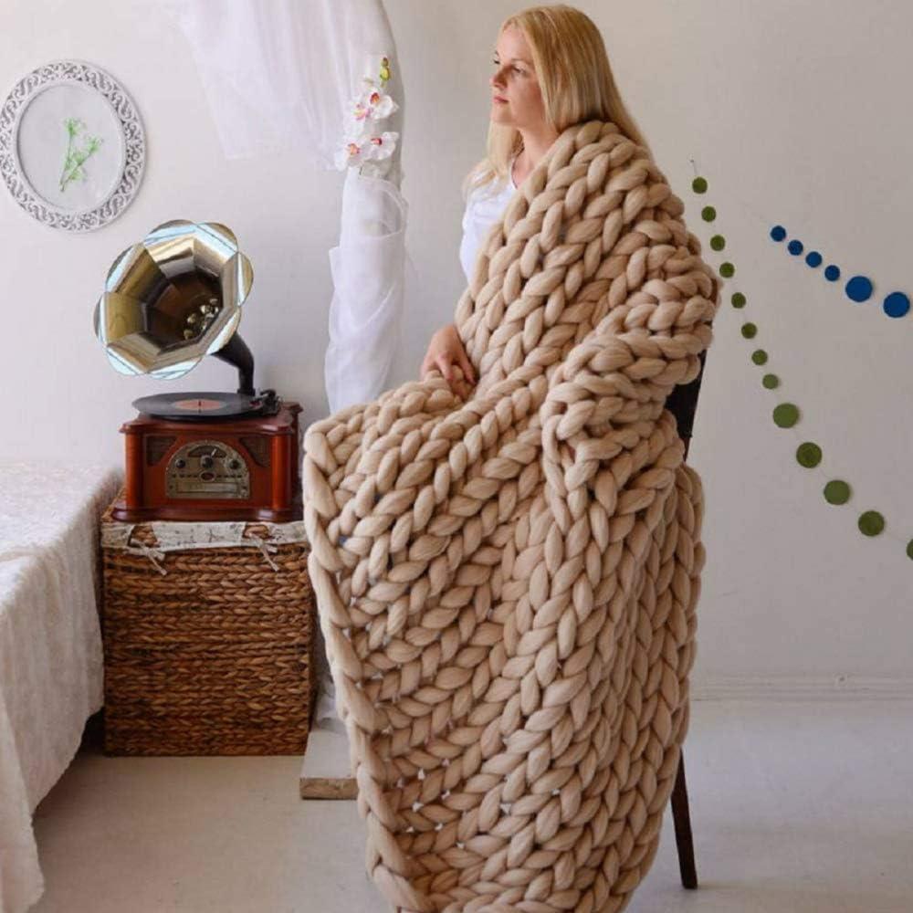 TRGCJGH Knitted Blanket,Chunky Knitted Blanket,Chunky Knit Throw, Handmade Chunky Knit Blanket Sofa Rug Soft Knitting Throw Anxiety Blanket,Black-60 * 80CM Khaki-60*60cm