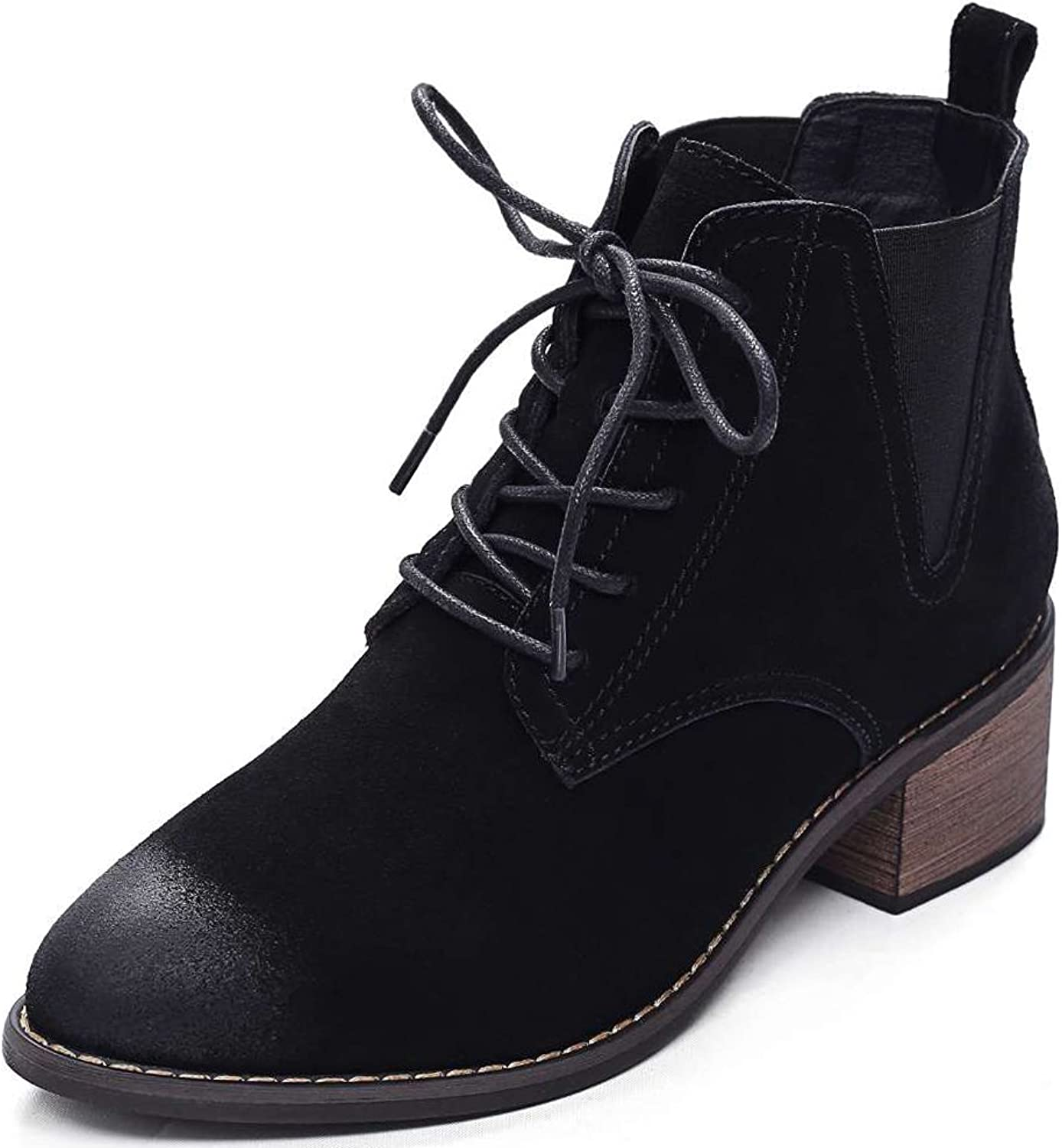 Rismart Women Nubuck Leather Vintage Ankle Boots Chunky Heel Lace Up Chelsea Boots Black SN0921 US7