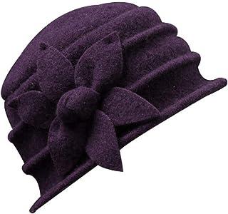 Women Solid Color Winter Hat Flower 100% Wool Cloche Bucket Hat