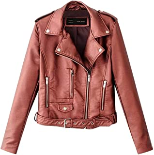 Ladies Biker Jacket Motorcycle Jacket Faux Leather Jacket PU Leather Coat Autumn with Rivet and Multiple Zipper