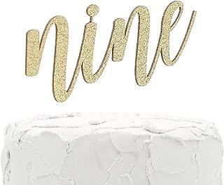 NANASUKO 9th Birthday Cake Topper - nine - double sided glitter - Premium quality Made in USA