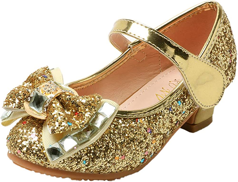 N/P Joeupin Girls Glitter Princess Shoes with Bow Low Heels Wedding Party Bridesmaid Dress Shoes