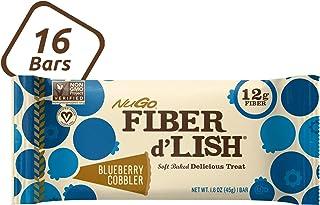 NuGo Fiber d'Lish Blueberry Cobbler, 12g High Fiber, Vegan, 130 Calories, 16 Count