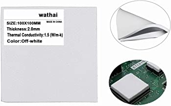 Wathai Off-White 100x100x2.0mm 2.0mm Silicone Pad Thermal Conductivity 1.5 W/mk Thermal pad for GPU CPU PS3 PS2 Xbox Heatsink Cooling