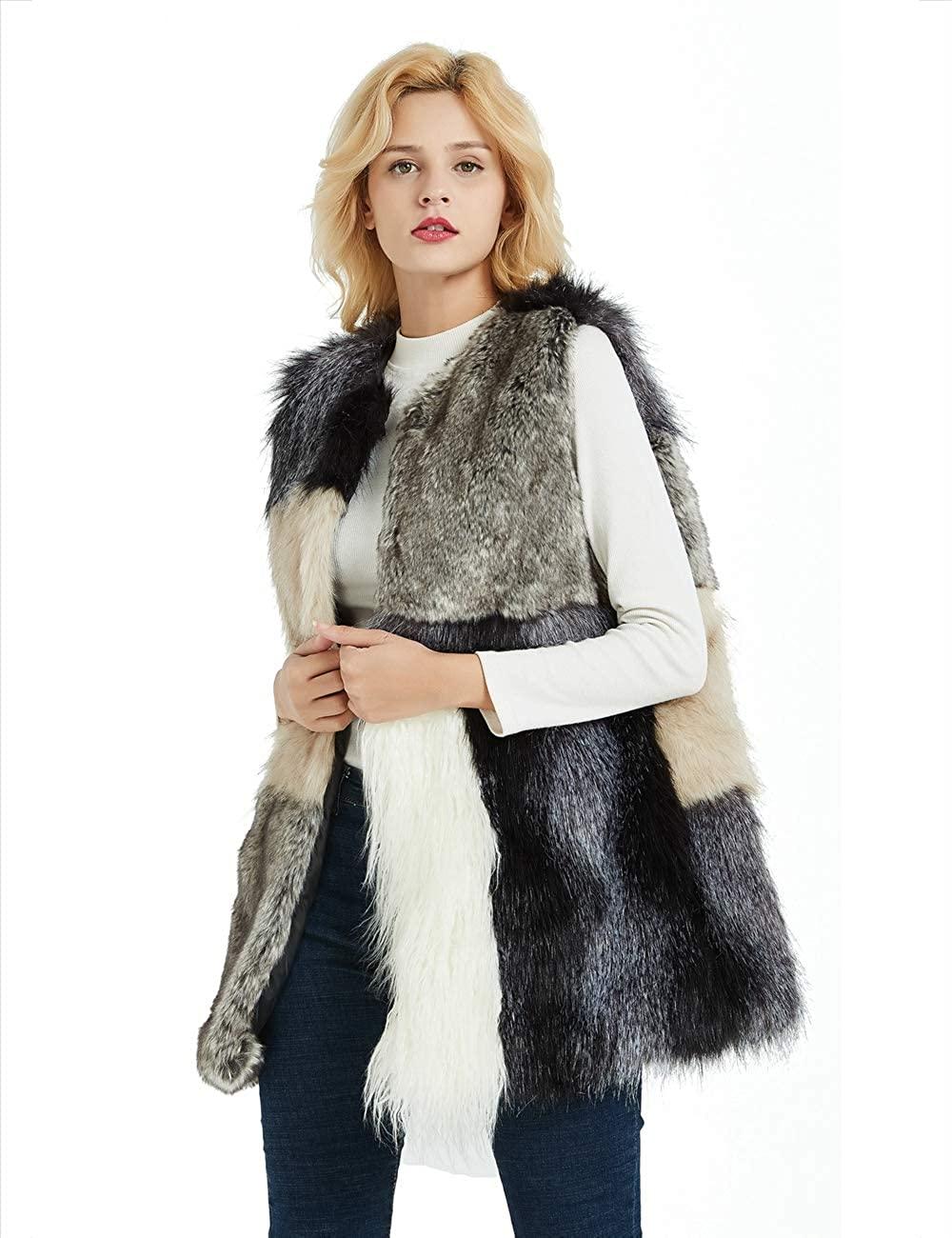 Bellivera Women's Faux Fur Vest Warm Outwear for Spring Fall and Winter