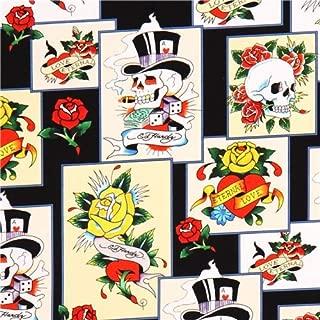 Black colorful skull panel fabric Quilting Treasures 'Love is True' (per 0.5 yard unit)