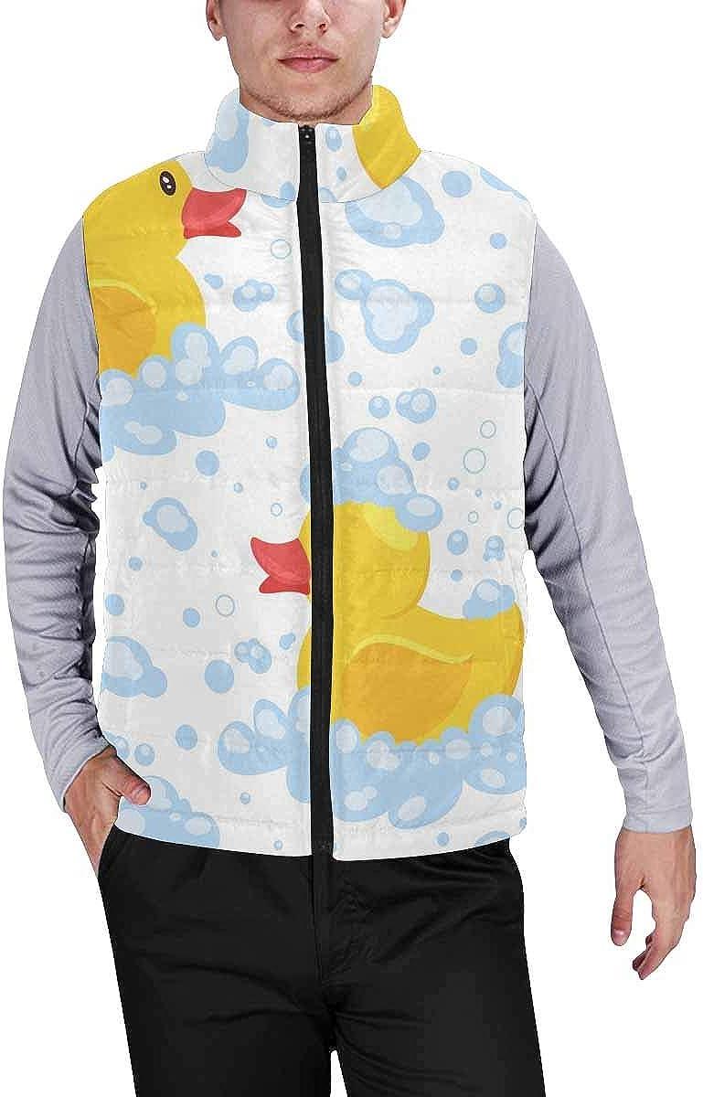 InterestPrint Men's Full-Zip Padded Vest Jacket for Outdoor Activities Yellow Fruit