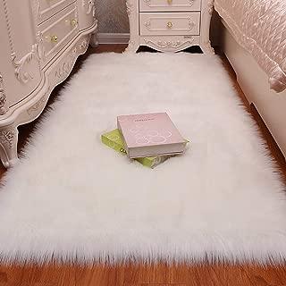 LOCHAS Stylish Fluffy Rug White Faux Fur Sheepskin Area Rugs for Bedroom, Soft Furry Rugs Bedside Living Room Carpet Nursery, 3x5 Feet