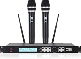 XTUGA UH-120 UHF Dual Wireless Handheld Dynamic Karaoke Microphone System with Echo, Delay,328 Ft Range,for YouTube TV Kar...