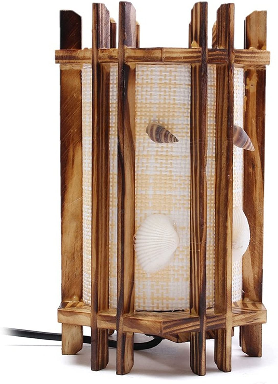 Vampsky Vintage Antik Holz Seashells Tischlampe Tischleuchte Retro Industrial Wind Desktop Beleuchtung für Schlafzimmer Wohnzimmer Home Art Display Cafe Bar Studio Schreibtischlampe mit Kabel