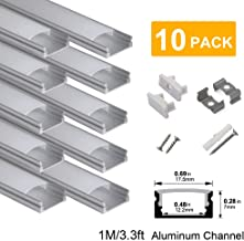 hunhun 10-Pack 3.3ft/1Meter U Shape LED Aluminum Channel System With milky Cover, End Caps and Mounting Clips, Aluminum Profile for LED Strip Light Installations, Very Easy Installation