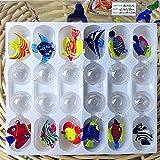 THREE 12 unids Custom soplado a Mano Murano Vidrio Flotante Peces Tropicales Mini Figuras decoración del Acuario Colgante de Cristal estatuas de Animales, Amarillo