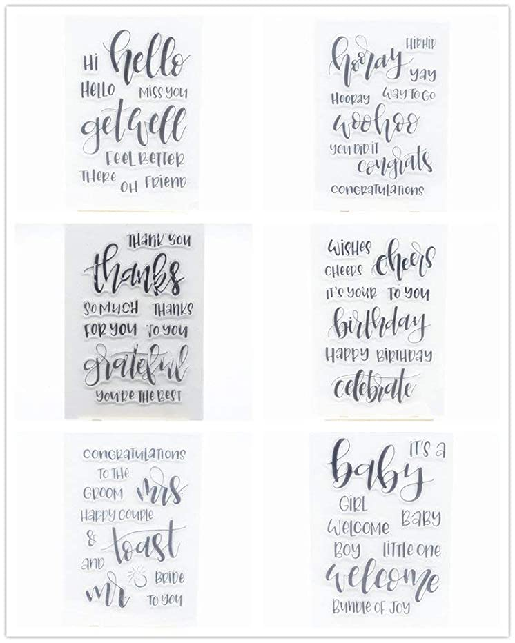 Welcome to Joyful Home 6pcs/Set Sentiments Clear Stamp for Card Making Decoration and Scrapbooking