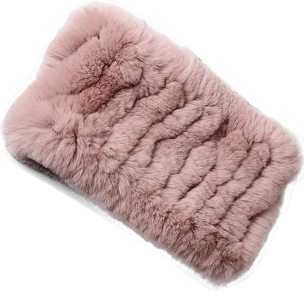 Yu He Rabbit Fur Headband - Winter Knit Neck Warmer Real Fur Headbands Women Scarf Muffler