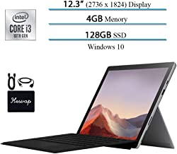 """$799 » New Microsoft Surface Pro 7 Touch-Screen PC Tablet- 12.3"""" (2736x1824), 10th Gen i3, 4GB Memory, 128GB SSD (Latest Model), USB-C, Webcam, Win 10 w/HESVAP Accessories, Black Type Cover"""