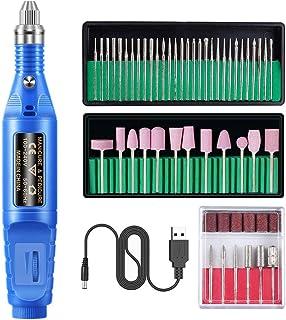 Solustre 1 Set Nail Drill Set Professional Portable Pen Shape Finger Toe Nail Care Kit Acrylic Nail Tools for Salon Home Use (Blue)