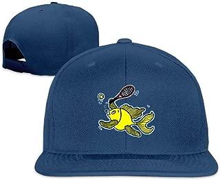 Adjustable Fish Born to Play Tennis Flat Bill Washed Hats Gym Baseball Cap