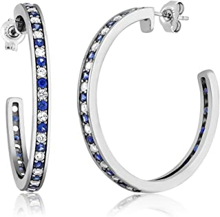 Gem Stone King 1.50 Inch Beautiful 925 Silver White & Blue Created Sapphire Hoop Earrings
