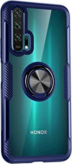 BRAND SET Case for Huawei Honor 20 Pro Transparent Case, TPU Bumper and Tempered Mirror Back Cover with 360° Rotation Magnetic Metal Ring Holder for Huawei Honor 20 Pro-Blue