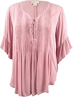 Style & Co. Womens Plus Boho Lace Up Peasant Top