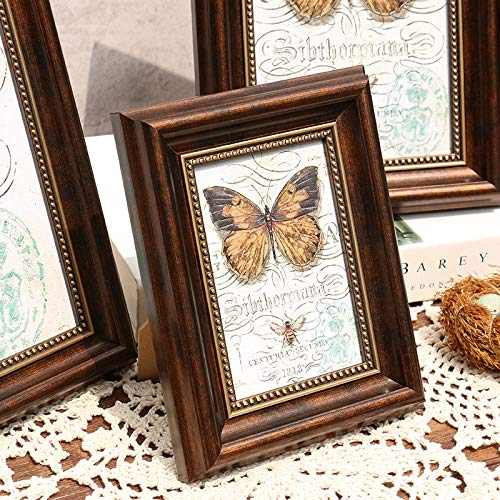 QKEMM Fotorahmen personalisiertes Geschenk Souvenir Bilderrahmen-Harz-Set Tisch+An Der Wand Hängen 10,2×15,2cm Braun