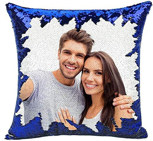 Cojín Personalizada con Foto 40 * 40cm Almohada Tejido Tacto algodón Regalo para Mujer Amiga Mama Vario Tamano Tejido Tacto algodón (con Relleno-Azul)