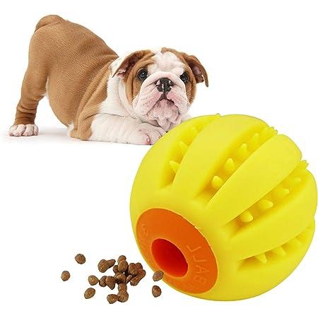 LaRoo中小型犬用噛むおもちゃ耐久性のボール、テディフットボール教育玩具6.4 cm訓練用ボール、チワワの知能訓練しいおやつボール 壊れない(イエロー)