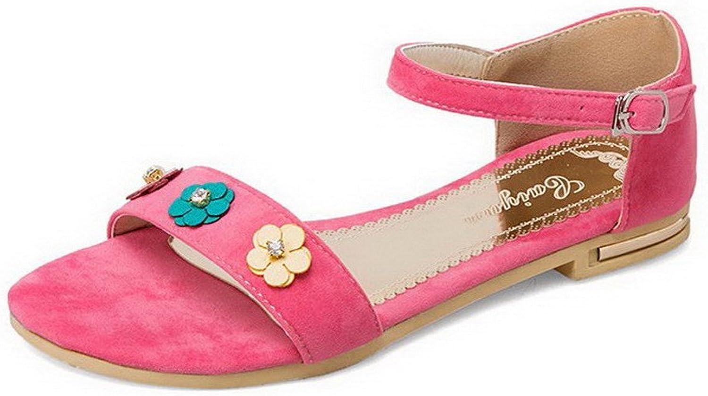 WeenFashion Women's Low-Heels Solid Buckle Blend Materials Sandals, CA18LA03364