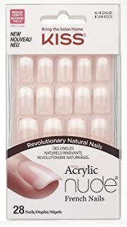 Kiss Salon Acrylic Nude French Nails, Cashmere, 28 Count