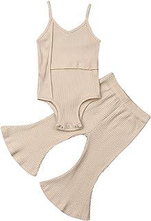 2Pcs/Set Toddler Kid Baby Girls Halter Sleeveless Romper/Long Sleeve Tops Flared Pants Bell-Bottoms Outfits