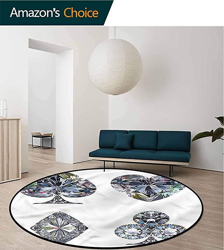 RUGSMAT Diamond Round Area Rug Ultra Comfy Thick Heart Shaped Diamonds Non Slip Bathroom Soft Floor Mat Home Decor Diameter 24