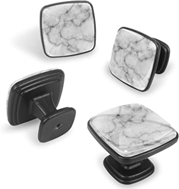 4 Pcs Square Cabinet Handles and Knobs Drawer/Furniture Pulls with Screws ,Marble Grey White Pattern