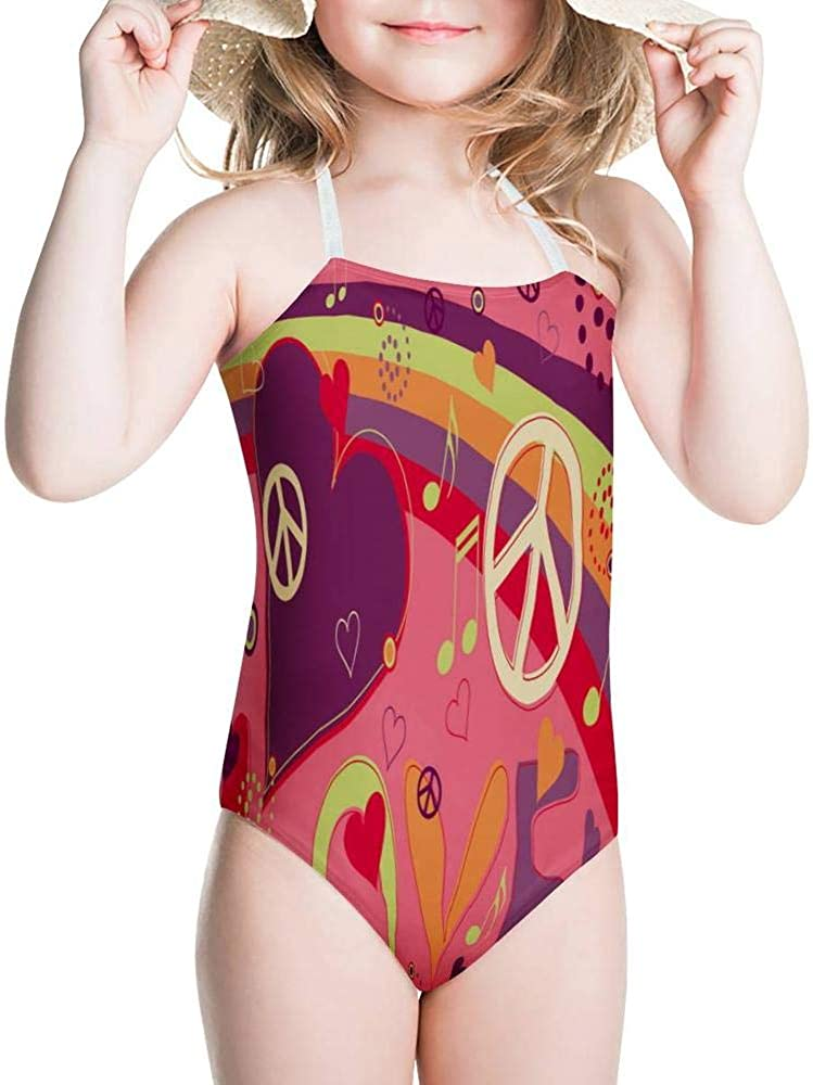 Turquoise /& Pink Hearts Youth Swimsuit 8-20