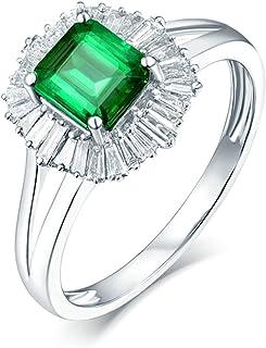 Daesar Anelli di Matrimonio Oro Bianco 18K, Anello di Fidanzamento A Fiore 4 Griffe Smeraldo Quadrato 0.8ct con Diamante 0...