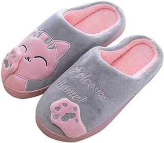 Aniywn Women Winter Home Indoor Warm Fleece Slippers Cat Non-Slip Warm Indoors Bedroom Floor Shoes